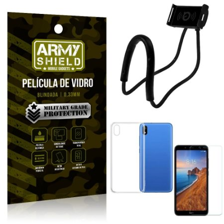 Kit Suporte Pescoço Xiaomi Redmi 7A Suporte + Película Vidro + Capa Silicone - Armyshield