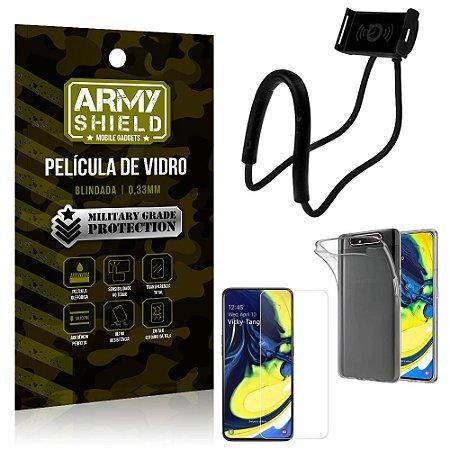Kit Suporte Pescoço Samsung A80 Suporte + Película Vidro + Capa Silicone - Armyshield