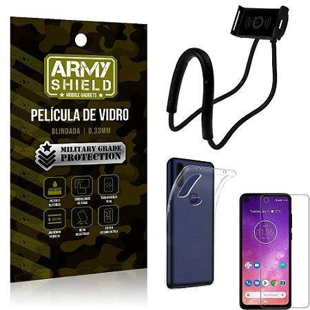 Kit Suporte Pescoço Motorola One Vision Suporte + Película Vidro + Capa Silicone - Armyshield