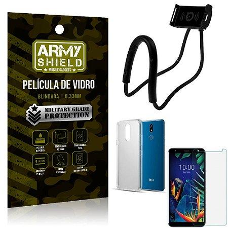 Kit Suporte Pescoço LG K12 K12 Plus Suporte + Película Vidro + Capa Silicone - Armyshield