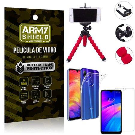 Kit Mini Tripé Xiaomi Redmi 7 Mini Tripé + Película Vidro + Capa Silicone - Armyshield
