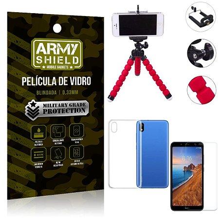 Kit Mini Tripé Xiaomi Redmi 7A Mini Tripé + Película Vidro + Capa Silicone - Armyshield