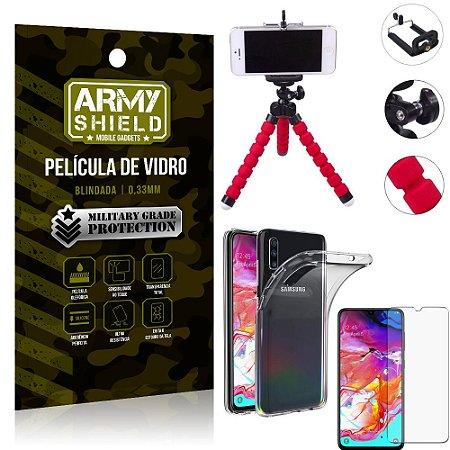 Kit Mini Tripé Samsung A70 Mini Tripé + Película Vidro + Capa Silicone - Armyshield