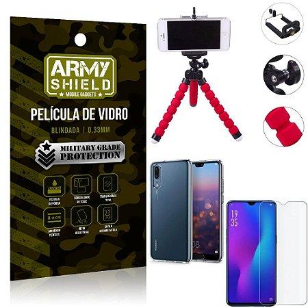 Kit Mini Tripé Huawei P30 Mini Tripé + Película Vidro + Capa Silicone - Armyshield
