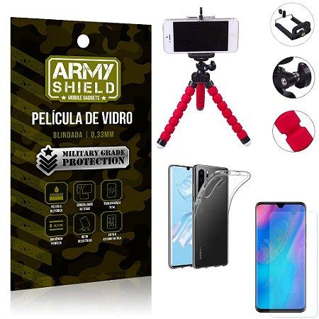 Kit Mini Tripé Huawei P30 Pro Mini Tripé + Película Vidro + Capa Silicone - Armyshield