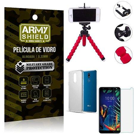 Kit Mini Tripé LG K12 K12 Plus Mini Tripé + Película Vidro + Capa Silicone - Armyshield