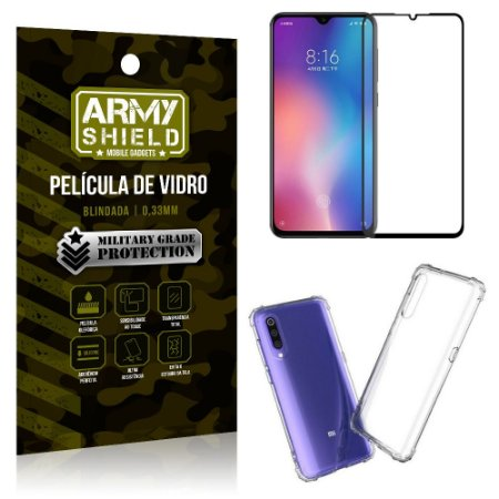 Kit Full Protection Xiaomi Mi 9 SE Película de Vidro 3D + Capa Anti Impacto - Armyshield