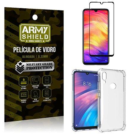 Kit Full Protection Xiaomi Redmi 7 Película de Vidro 3D + Capa Anti Impacto - Armyshield