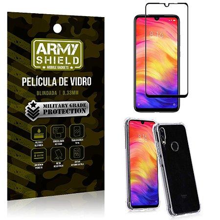 Kit Full Protection Xiaomi Redmi Note 7 Película de Vidro 3D + Capa Anti Impacto - Armyshield
