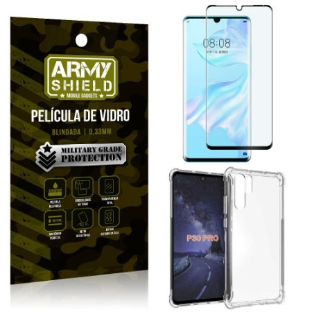 Kit Full Protection Huawei P30 Pro Película de Vidro 3D + Capa Anti Impacto - Armyshield