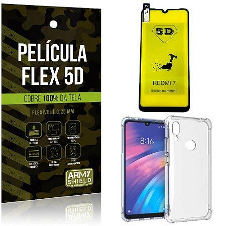 Kit Flex Protection Xiaomi Redmi 7 Película Flex 5D Tela Toda + Capa Anti Impacto - Armyshield