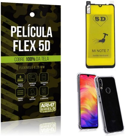 Kit Flex Protection Xiaomi Redmi Note 7 Película Flex 5D Tela Toda + Capa Anti Impacto - Armyshield