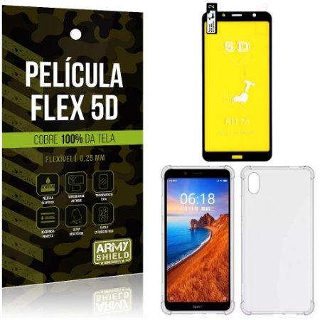 Kit Flex Protection Xiaomi Redmi 7A Película Flex 5D Tela Toda + Capa Anti Impacto - Armyshield
