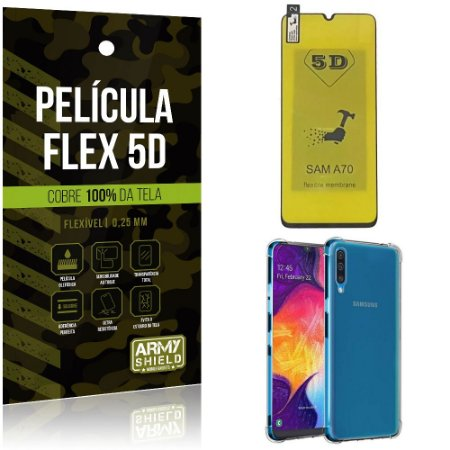 Kit Flex Protection Samsung A70 Película Flex 5D Tela Toda + Capa Anti Impacto - Armyshield