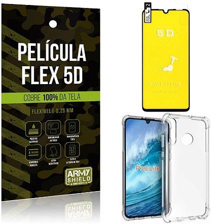 Kit Flex Protection Huawei P30 Lite Película Flex 5D Tela Toda + Capa Anti Impacto - Armyshield