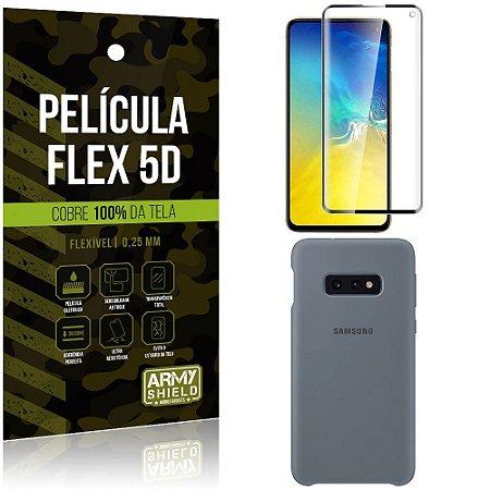 Capa Case Silicone Samsung S10e Cinza + Película Flex 5D Cola na Tela Toda - Armyshield