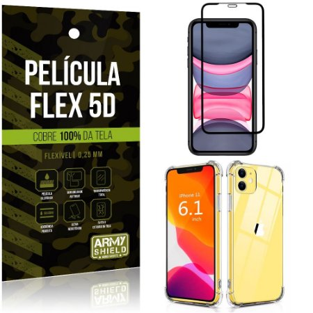 Capa Anti Impacto iPhone 11 6.1 + Película Flex 5D Cobre toda tela - Armyshield