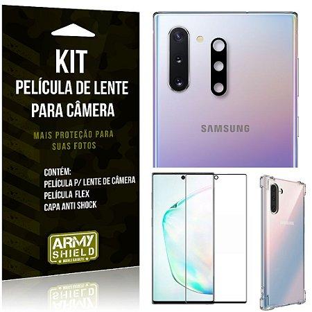Kit Película de Lente da Camera Galaxy Note 10 + Capa Anti Shock + Película Flex - Armyshield