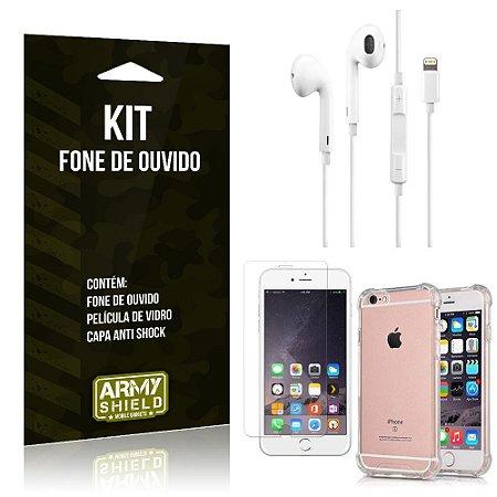 Kit Fone de Ouvido Lightning para Iphon 6/6S + Capa Anti Shock + Película de Vidro - Armyshield
