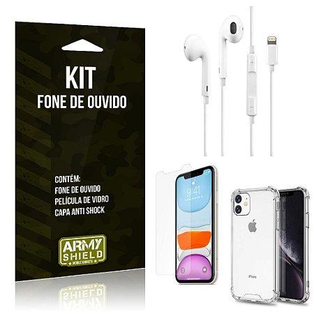 Kit Fone de Ouvido Lightning para Iphon 11 + Capa Anti Shock + Película de Vidro - Armyshield