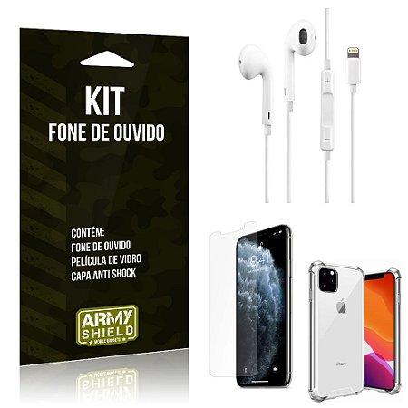 Kit Fone de Ouvido Lightning para Iphon 11 Pro + Capa Anti Shock + Película de Vidro - Armyshield