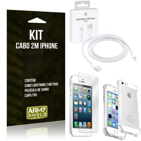 Kit Cabo 2m para Iphon 5/5S + Capa Anti Shock + Película de Vidro - Armyshield