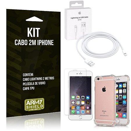 Kit Cabo 2m para Iphon 6/6S + Capa Anti Shock + Película de Vidro - Armyshield