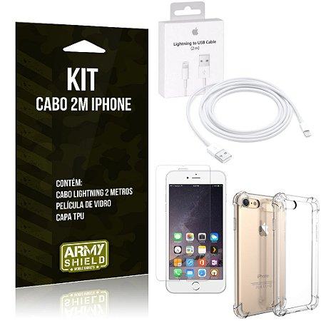 Kit Cabo 2m para Iphon 6 Plus/6S Plus + Capa Anti Shock + Película de Vidro - Armyshield