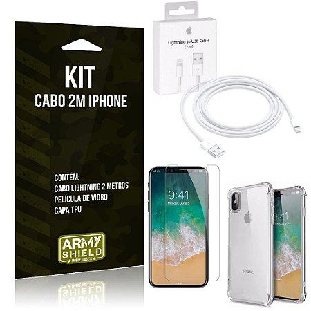 Kit Cabo 2m para Iphon X + Capa Anti Shock + Película de Vidro - Armyshield