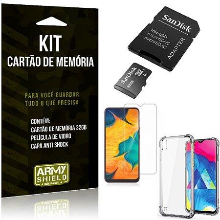 Kit Galaxy A10 Cartão Memória 32 GB + Capinha Antishock + Película Vidro - Armyshield