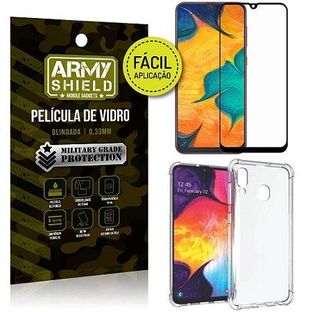 Kit Película 3D Fácil Aplicação Samsung Galaxy A20 Película 3D + Capa Anti Impacto - Armyshield