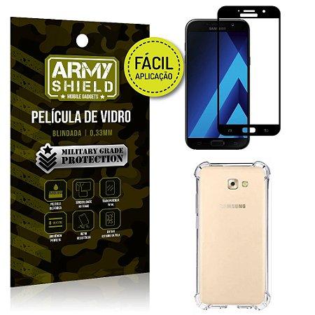 Kit Película 3D Fácil Aplicação Galaxy A3 (2017) Película 3D + Capa Anti Impacto - Armyshield