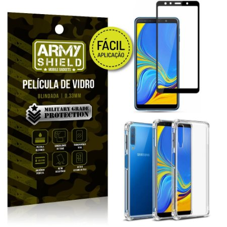 Kit Película 3D Fácil Aplicação Galaxy A7 (2018) Película 3D + Capa Anti Impacto - Armyshield