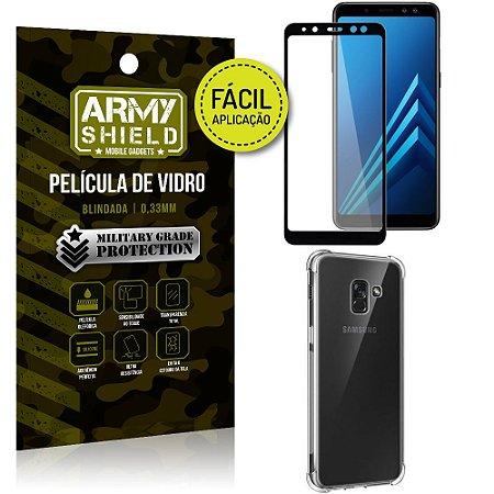 Kit Película 3D Fácil Aplicação Samsung Galaxy A8 Plus Película 3D + Capa Anti Impacto - Armyshield