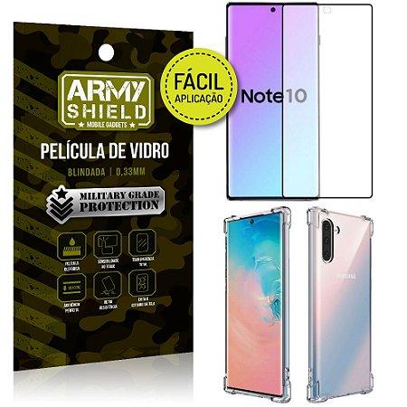 Kit Película 3D Fácil Aplicação Samsung Galaxy Note 10 Película 3D + Capa Anti Impacto - Armyshield