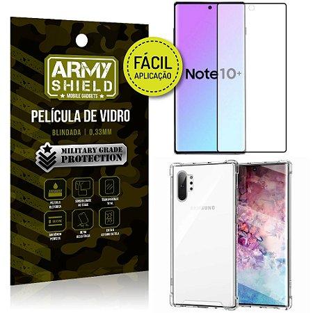 Kit Película 3D Fácil Aplicação Galaxy Note 10 Plus Película 3D +Capa Anti Impacto - Armyshield