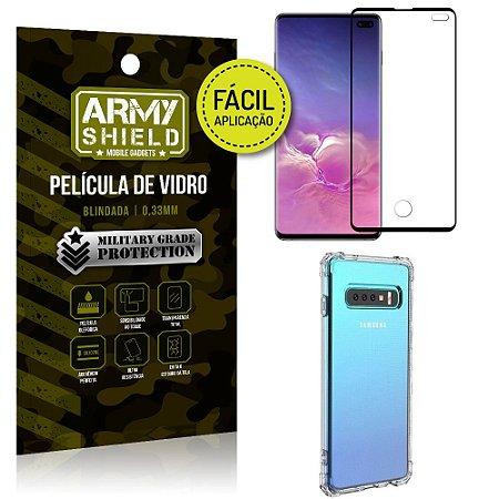 Kit Película 3D Fácil Aplicação Galaxy S10 Plus Película 3D + Capa Anti Impacto - Armyshield