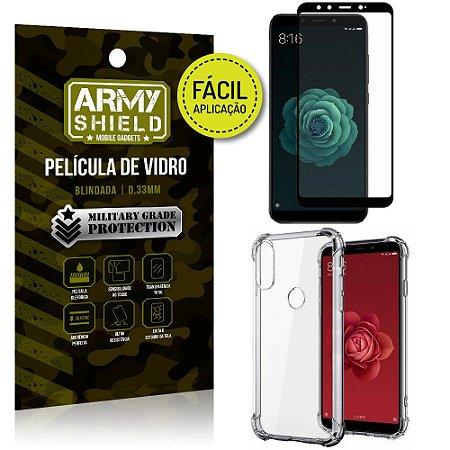 Kit Película 3D Fácil Aplicação Xiaomi Mi A2 (Mi 6X) Película 3D + Capa Anti Impacto - Armyshield