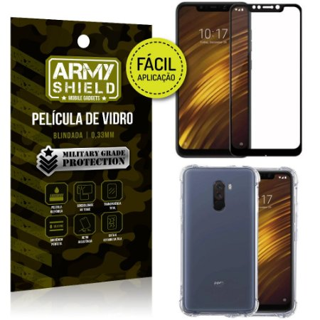 Kit Película 3D Fácil Aplicação Xiaomi Pocophone F1 Película 3D + Capa Anti Impacto - Armyshield