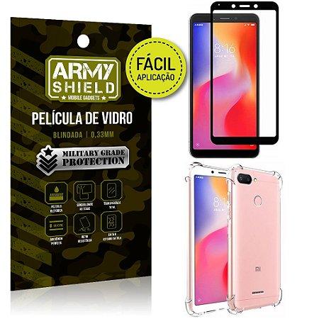 Kit Película 3D Fácil Aplicação Xiaomi Redmi 6 Película 3D + Capa Anti Impacto - Armyshield