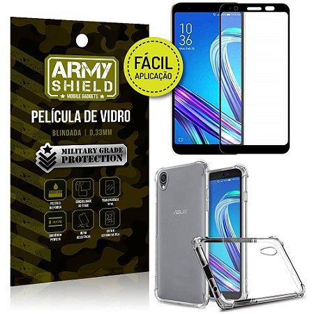 Kit Película 3D Fácil Aplicação Zenfone Live L1 ZA550KL + Capa Anti Impacto - Armyshield