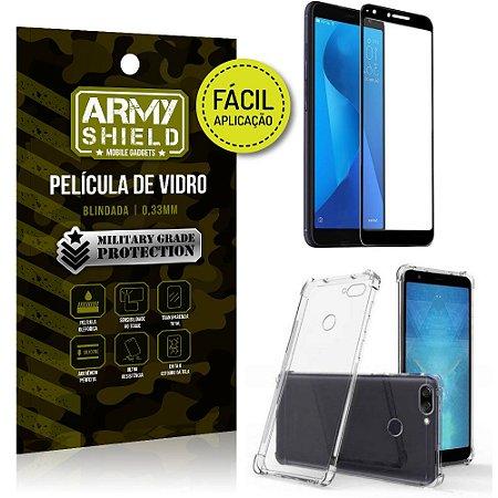 Kit Película 3D Fácil Aplicação Zenfone Max Plus M1 ZB570TL + Capa Anti Impacto - Armyshield