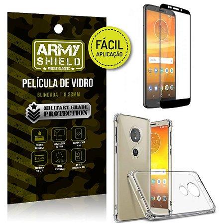 Kit Película 3D Fácil Aplicação Motorola Moto E5 Play Película 3D + Capa Anti Impacto - Armyshield