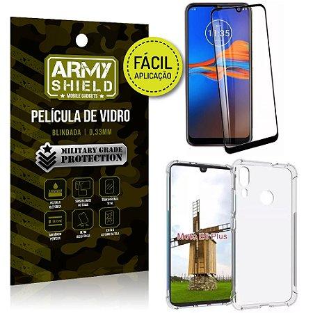 Kit Película 3D Fácil Aplicação Motorola Moto E6 Plus Película 3D + Capa Anti Impacto - Armyshield