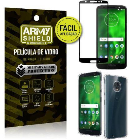 Kit Película 3D Fácil Aplicação Motorola Moto G6 Película 3D + Capa Anti Impacto - Armyshield