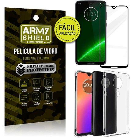 Kit Película 3D Fácil Aplicação Motorola Moto G7 Película 3D + Capa Anti Impacto - Armyshield
