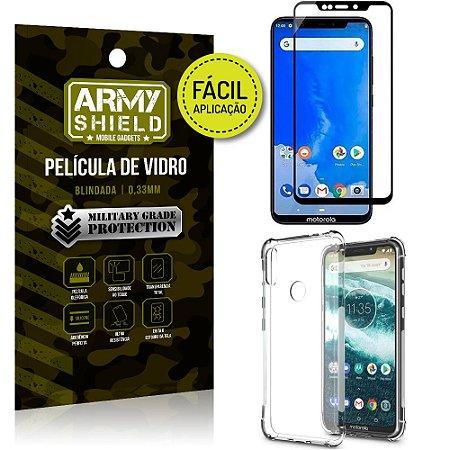 Kit Película 3D Fácil Aplicação Motorola Moto One Película 3D + Capa Anti Impacto - Armyshield