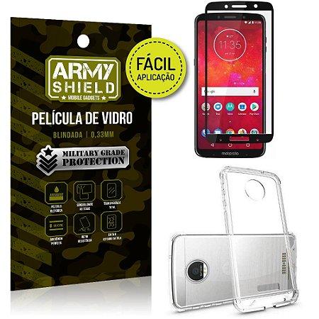 Kit Película 3D Fácil Aplicação Motorola Moto Z3 Play Película 3D + Capa Anti Impacto - Armyshield