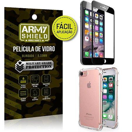 Kit Película 3D Fácil Aplicação Apple iPhone 6 - 6S Película 3D + Capa Anti Impacto - Armyshield