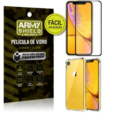 Kit Película 3D Fácil Aplicação Apple iPhone XR 6.1 Película 3D + Capa Anti Impacto - Armyshield